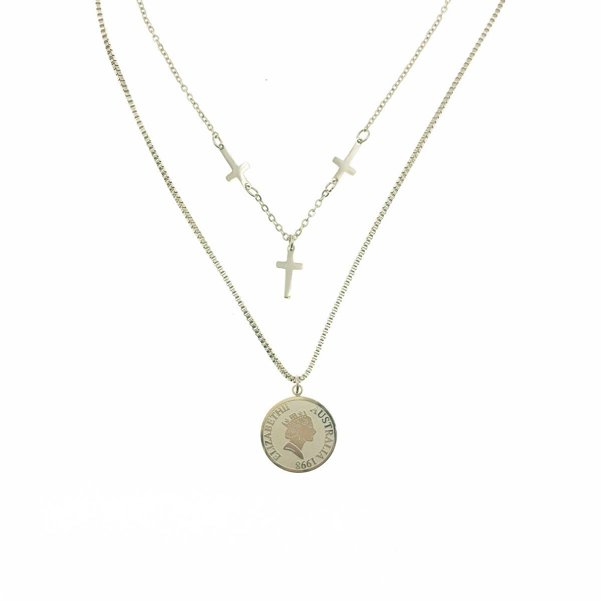 韓國 不銹鋼 十字架 女人頭 英文 雙層鍊 鎖骨鍊 短鍊 項鍊