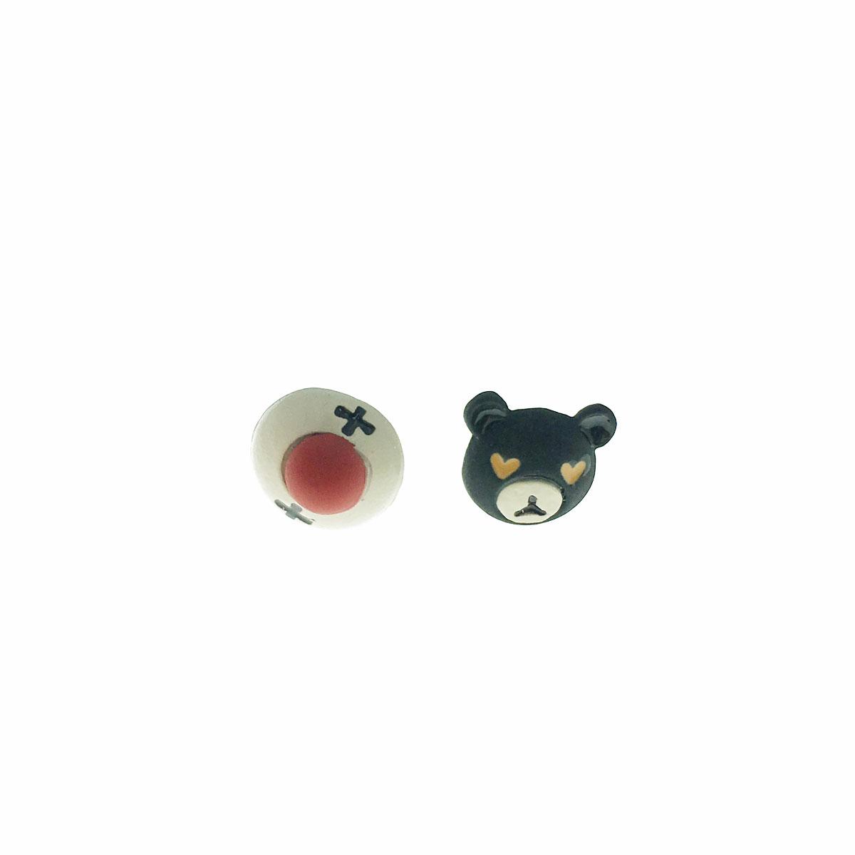 韓國 可愛 925純銀 小丑 小熊 不對稱 耳針式 耳環