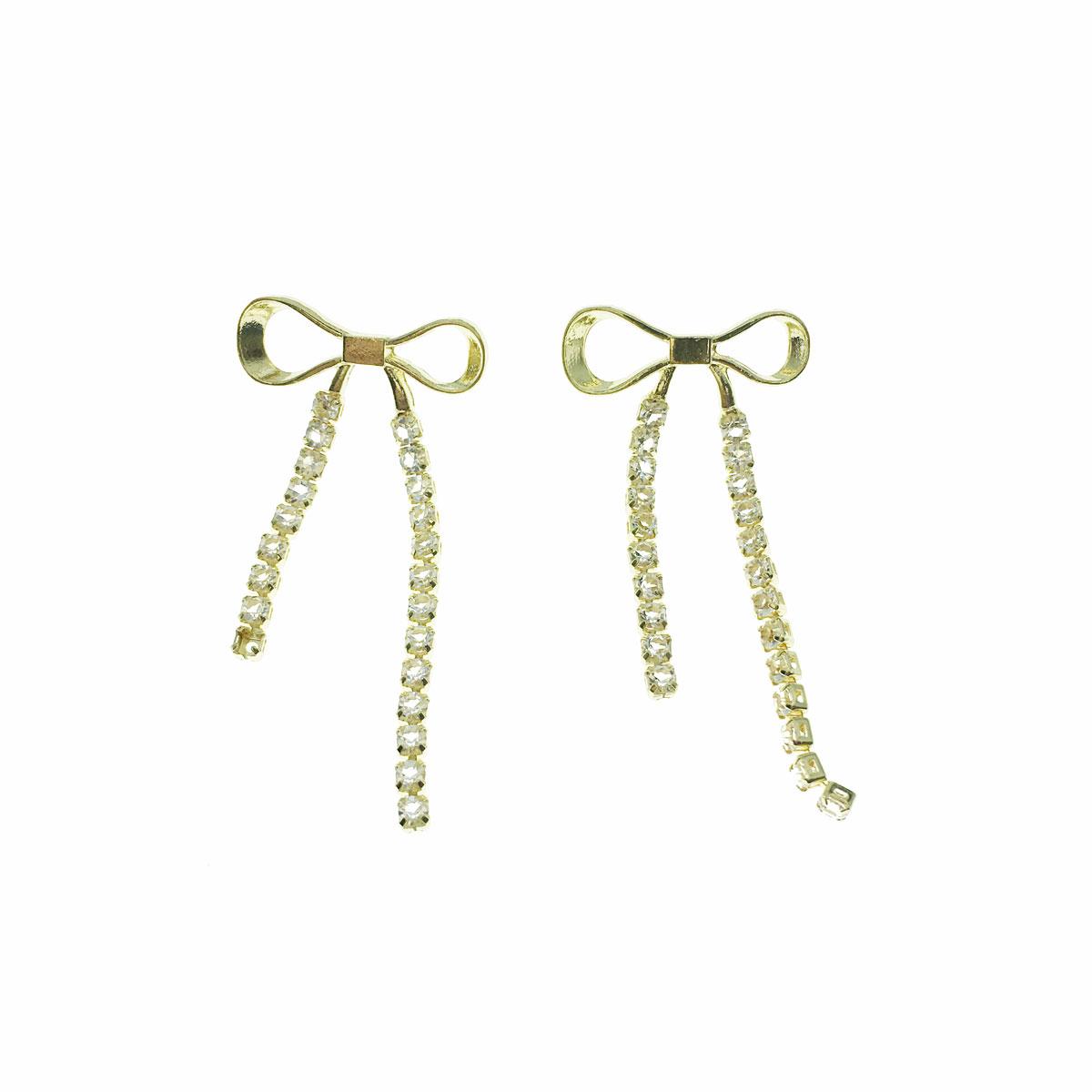 韓國 925純銀 蝴蝶結 水鑽 摟空 垂墜感 耳針式 耳環
