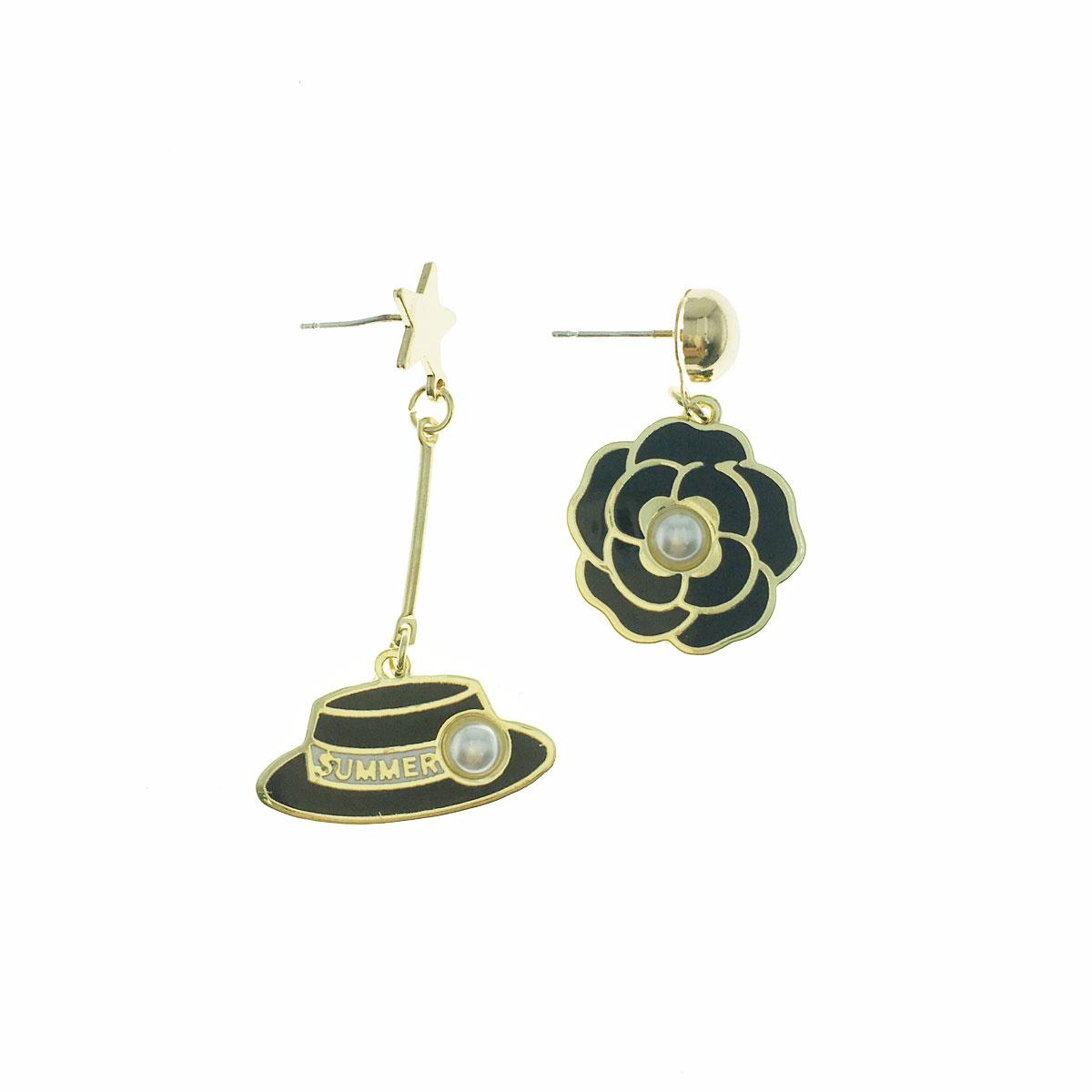 韓國 可愛 925純銀 小香風 珍珠 星星 不對稱 垂墜感 耳針式 耳環