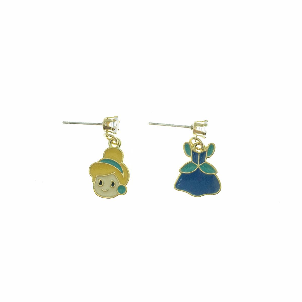 可愛 925純銀 灰姑娘 禮服 水鑽 不對稱 垂墜感 耳針式 耳環