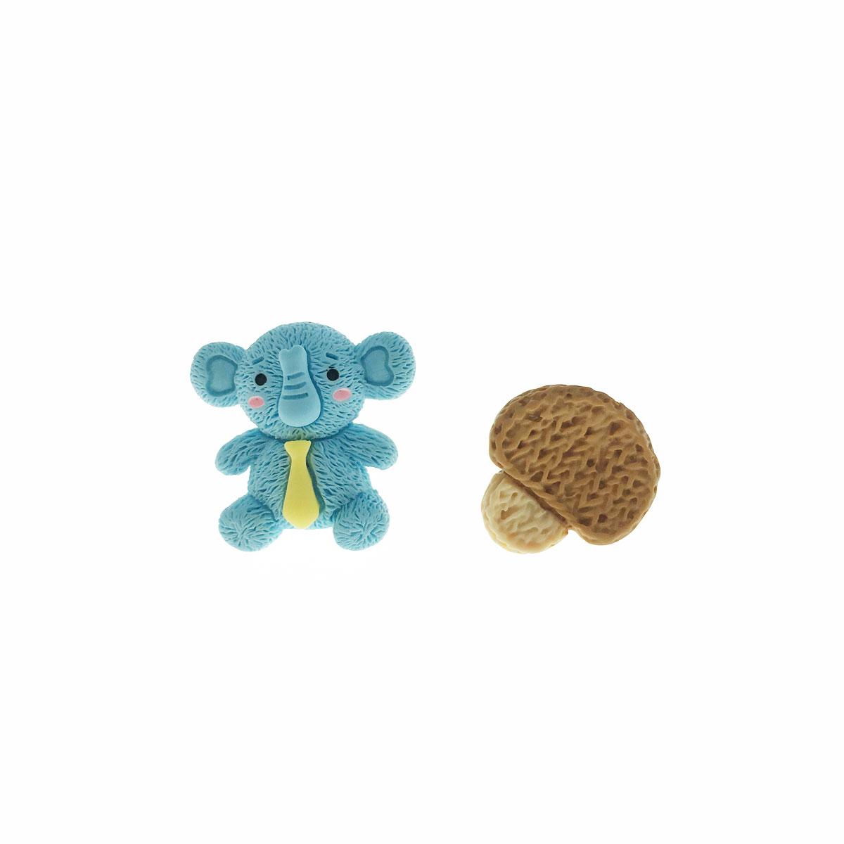 可愛 925純銀 大象 香菇 耳針式 耳環