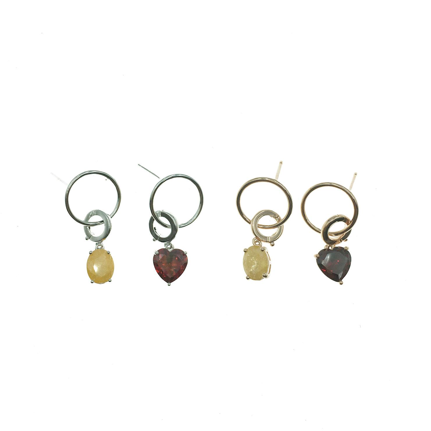 韓國 925純銀 明星款 愛心 紅黃水鑽 不對稱 垂墜 兩色 耳針式 耳環