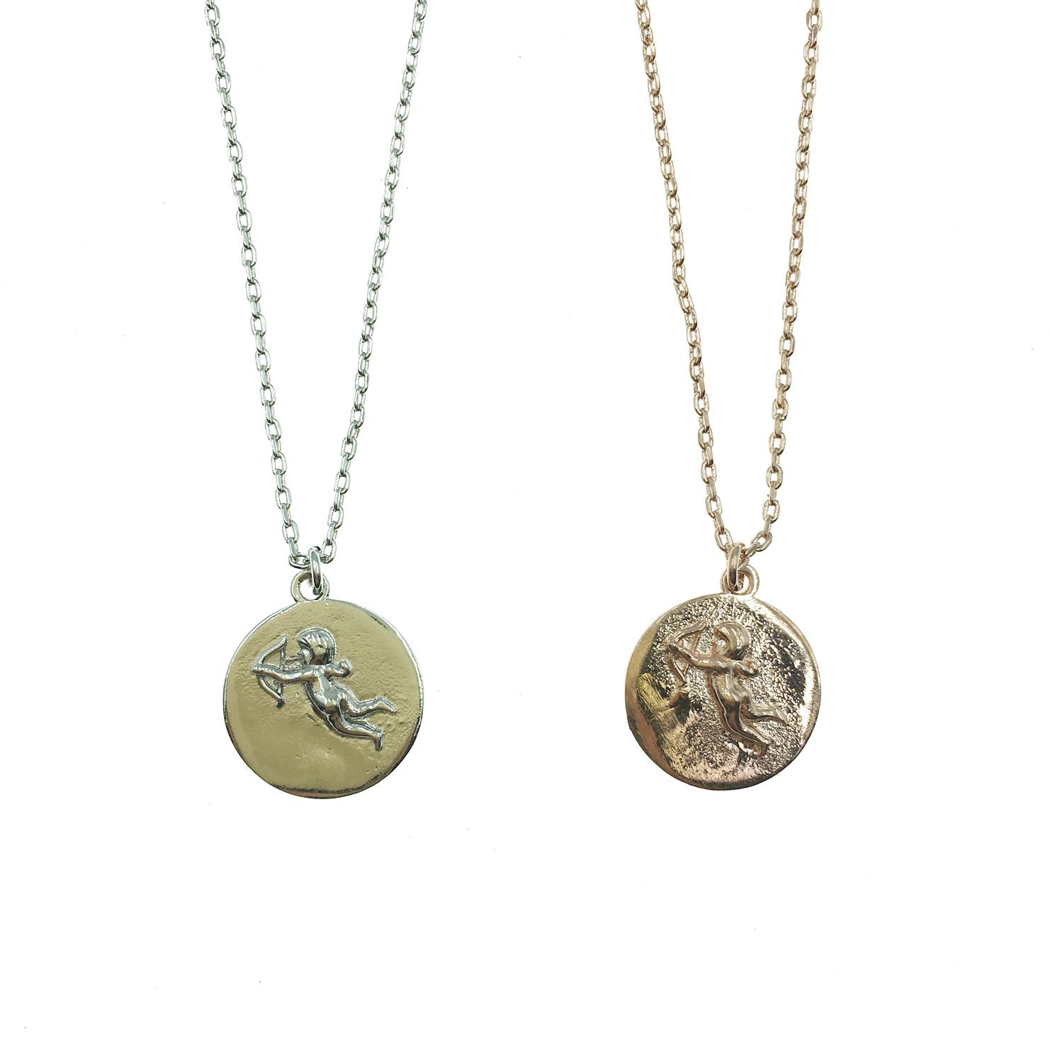 韓國 925純銀 明星款 邱比特 天使 圓形 戀人 兩色 短鍊 項鍊