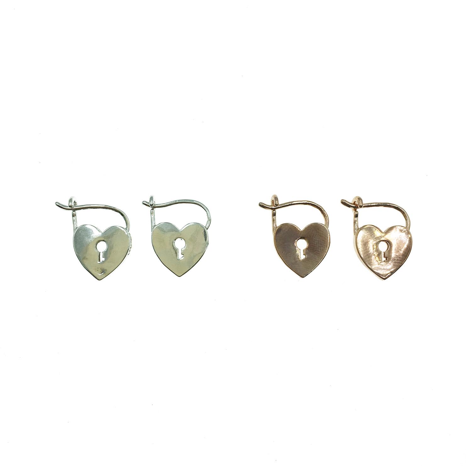 韓國 925純銀 明星款 愛心 鎖型 兩色 情人 耳針式 耳環