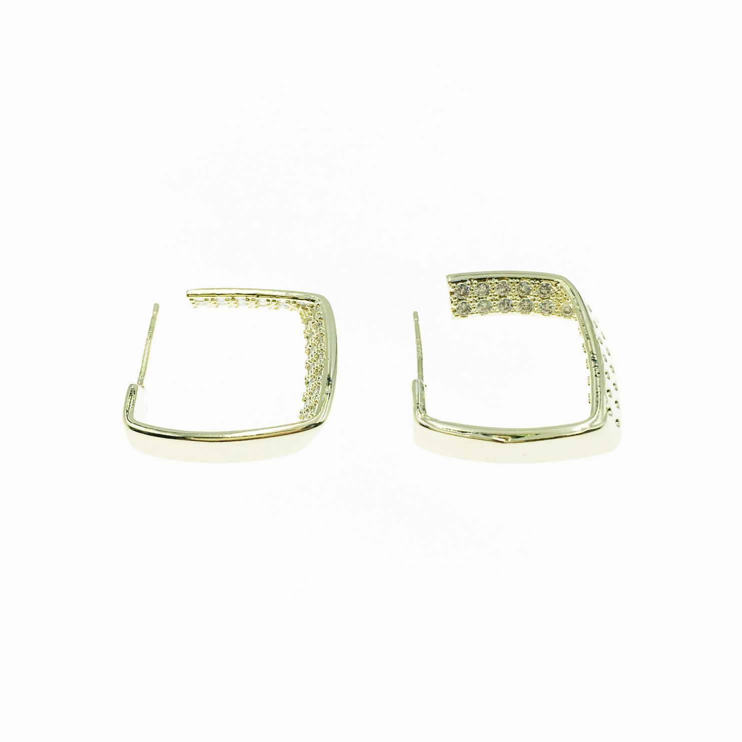 韓國 925純銀 方形 點點 水鑽 金色 耳針式 耳環