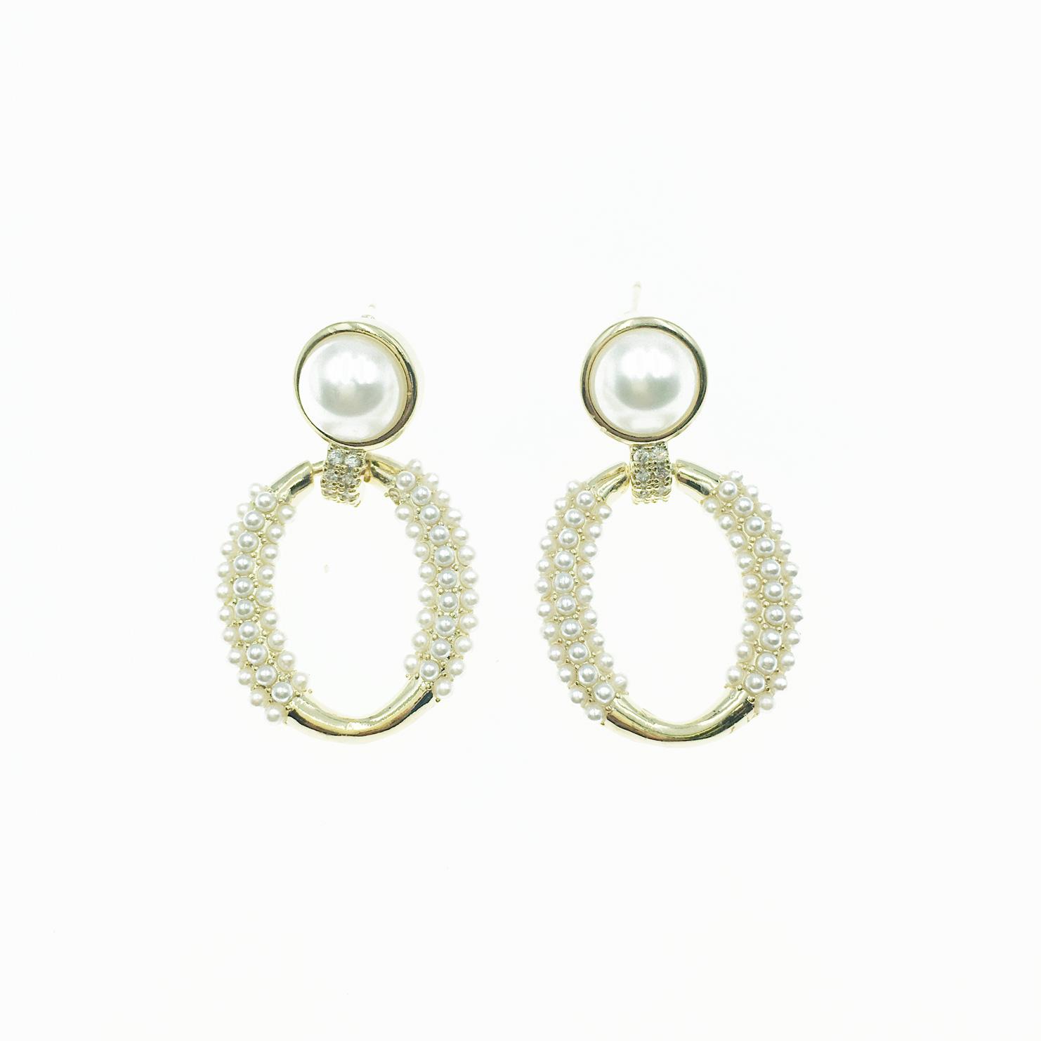 韓國 925純銀 珍珠 圓形 圓圈 橢圓 垂墜 耳針式 耳環