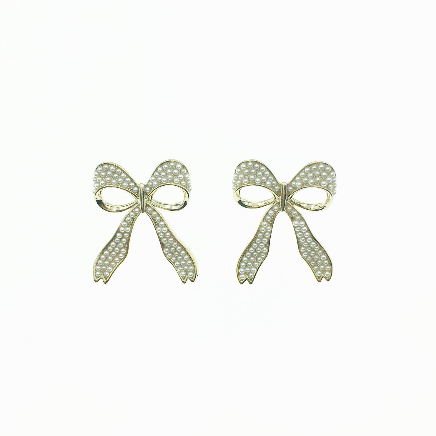 韓國 925純銀 蝴蝶結 珍珠 緞帶 耳針式 耳環