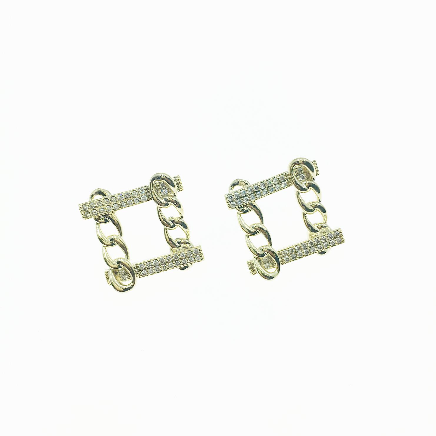 韓國 925純銀 方形 交錯 串鍊 水鑽 耳針式 耳環
