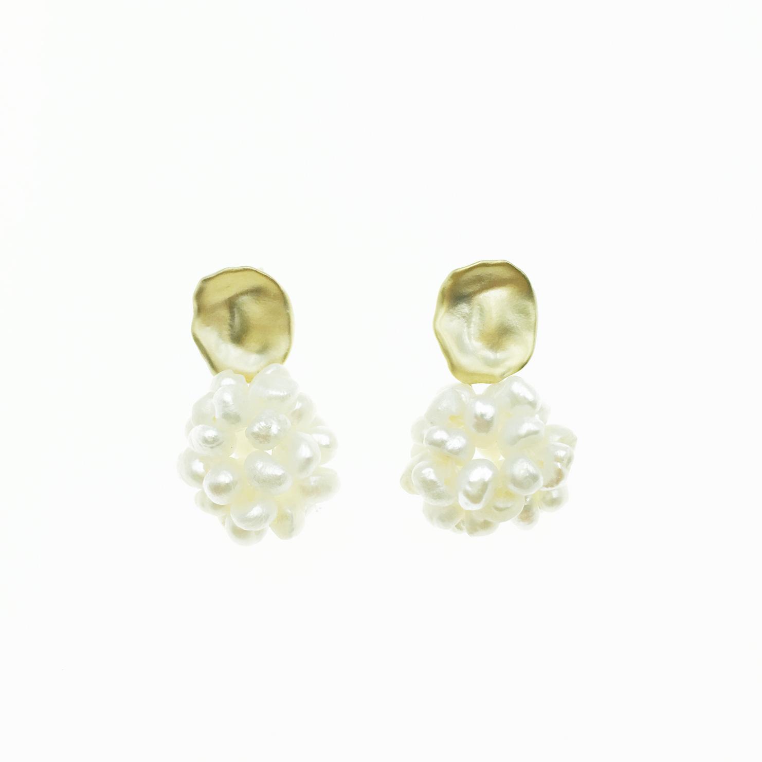 韓國 925純銀 造型珍珠 圓球 圓形 球狀 霧面 耳針式 耳環