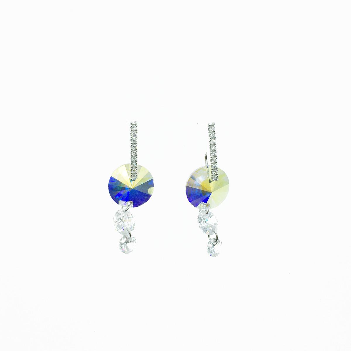 韓國 圓形 造型 切割 水晶 水鑽 排鑽 線條 圓珠 圓型 耳針式 耳環 採用施華洛世奇水晶元素 Crystals from Swarovski