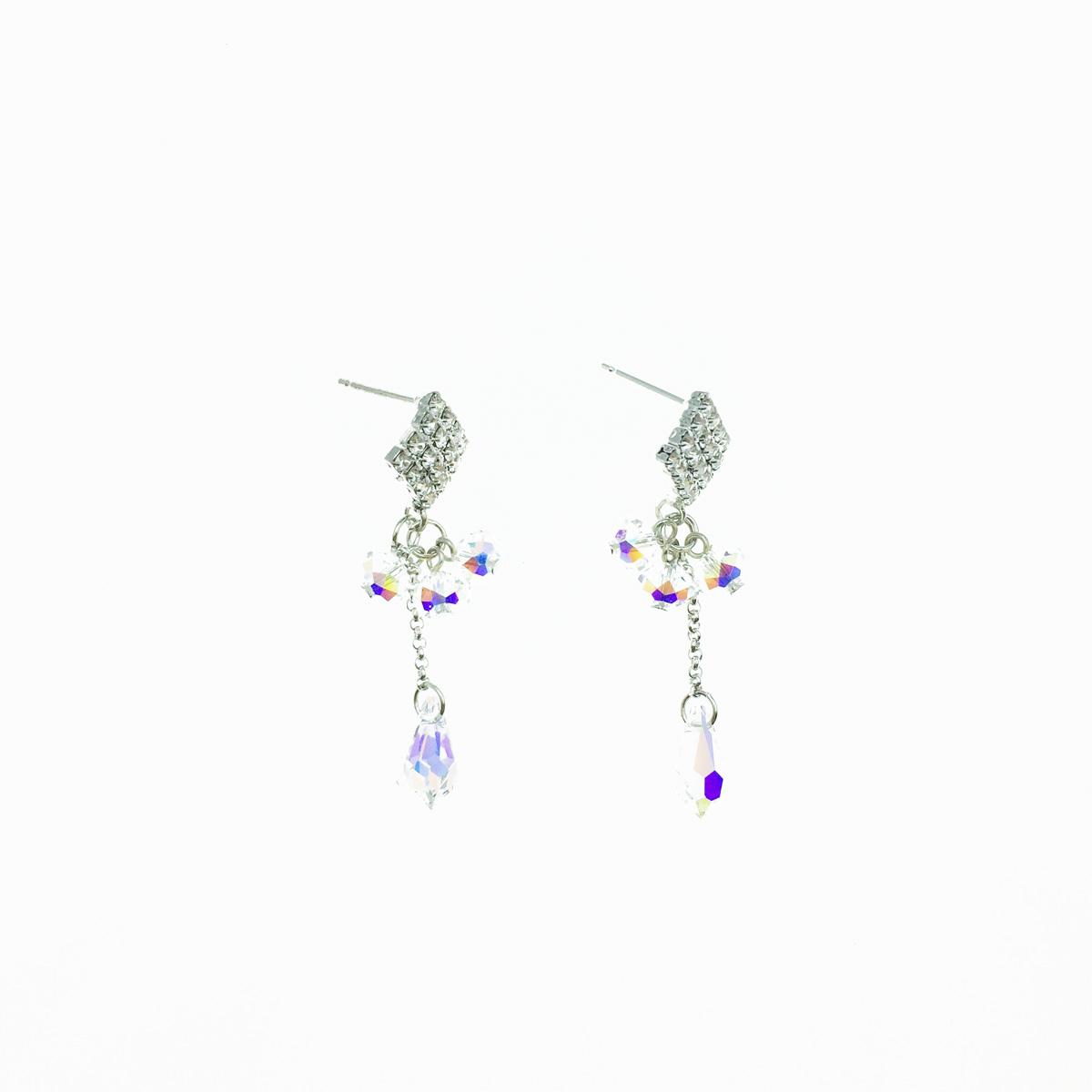 韓國 方形 稜形 水鑽 珠珠 圓珠 垂墜 耳針式 耳環 採用施華洛世奇水晶元素 Crystals from Swarovski