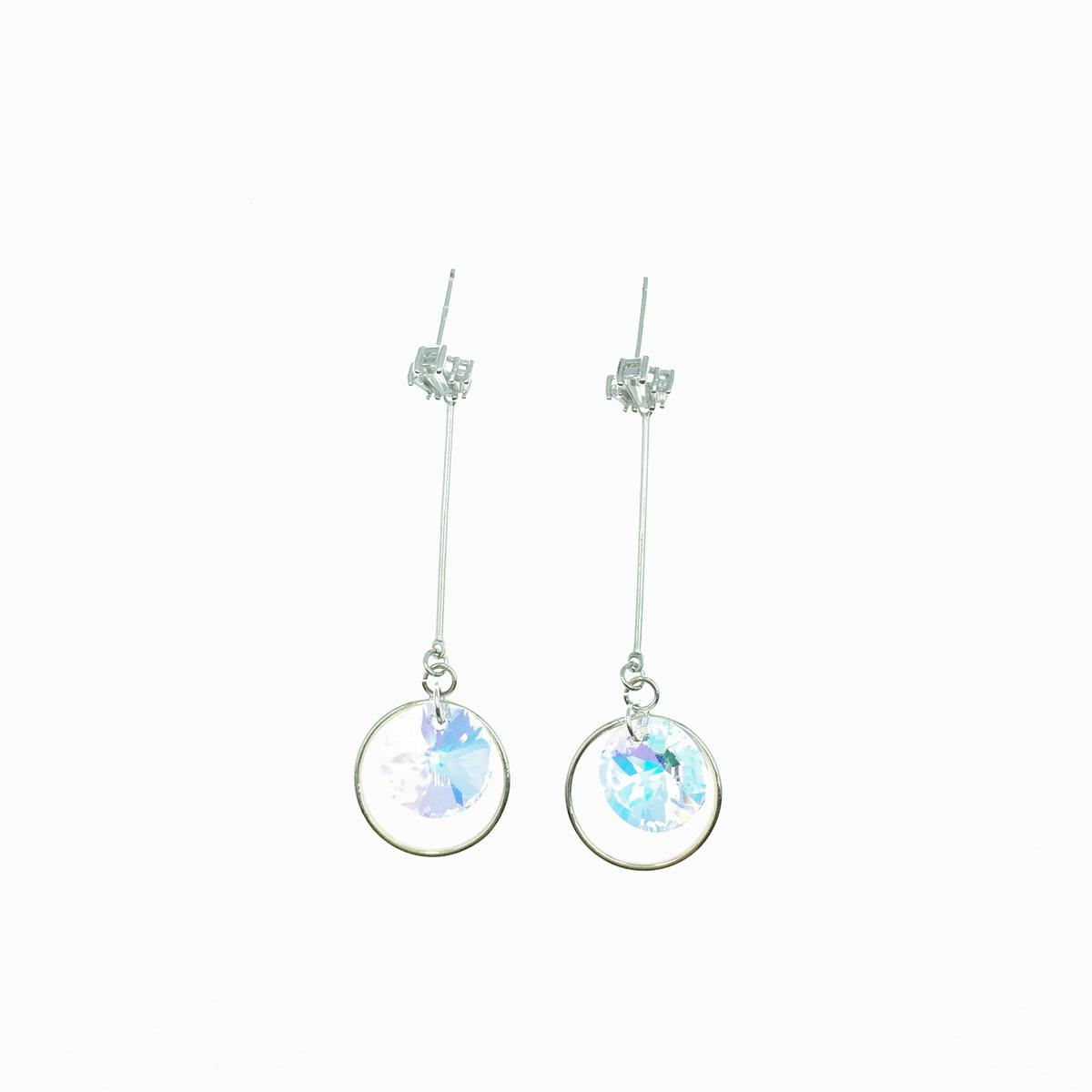 韓國 圓形 水晶 水鑽 線條 圓圈 耳針式 耳環 採用施華洛世奇水晶元素 Crystals from Swarovski