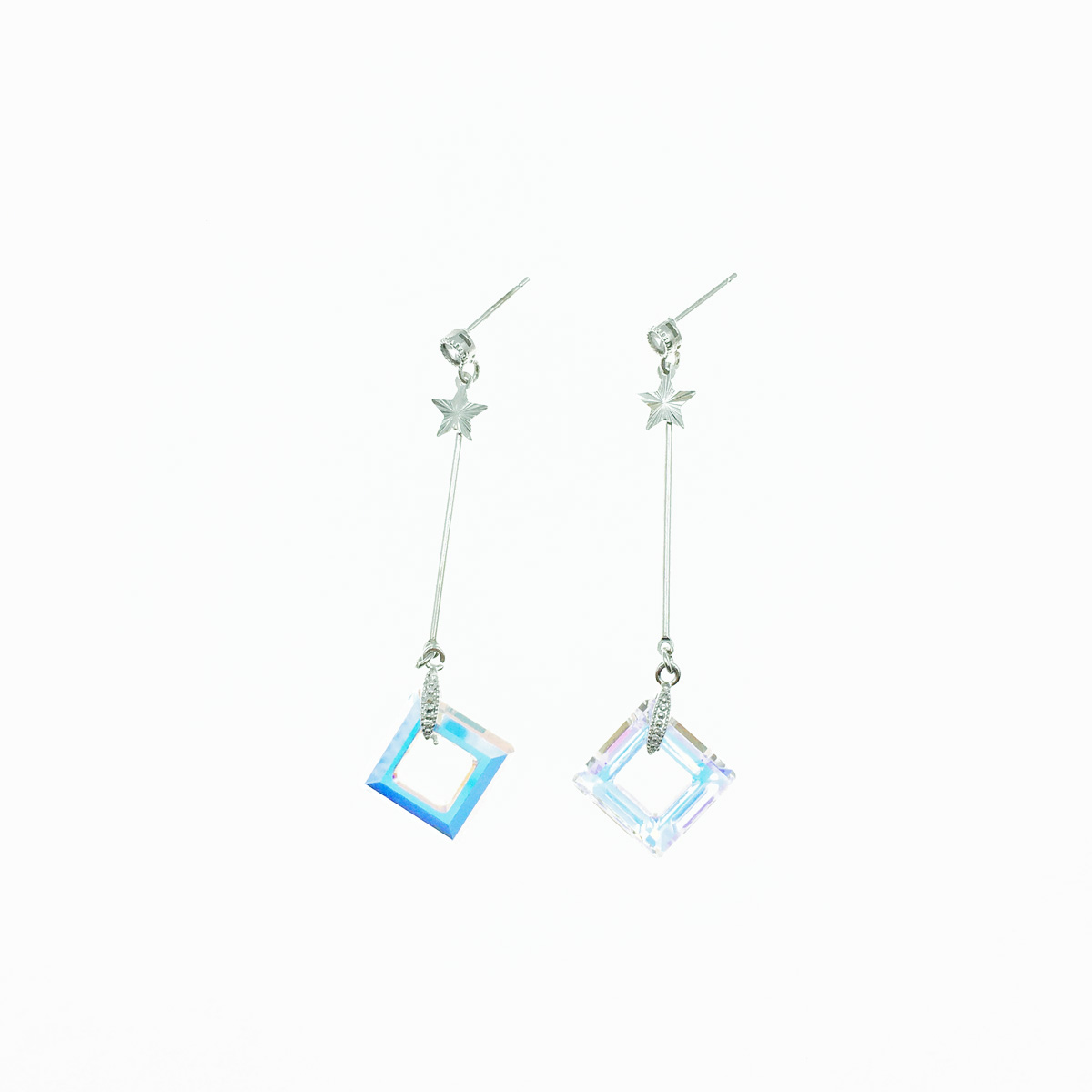 韓國 方形 稜形 水晶 星星 銀色 線條 水鑽 垂墜 耳針式 耳環 採用施華洛世奇水晶元素 Crystals from Swarovski
