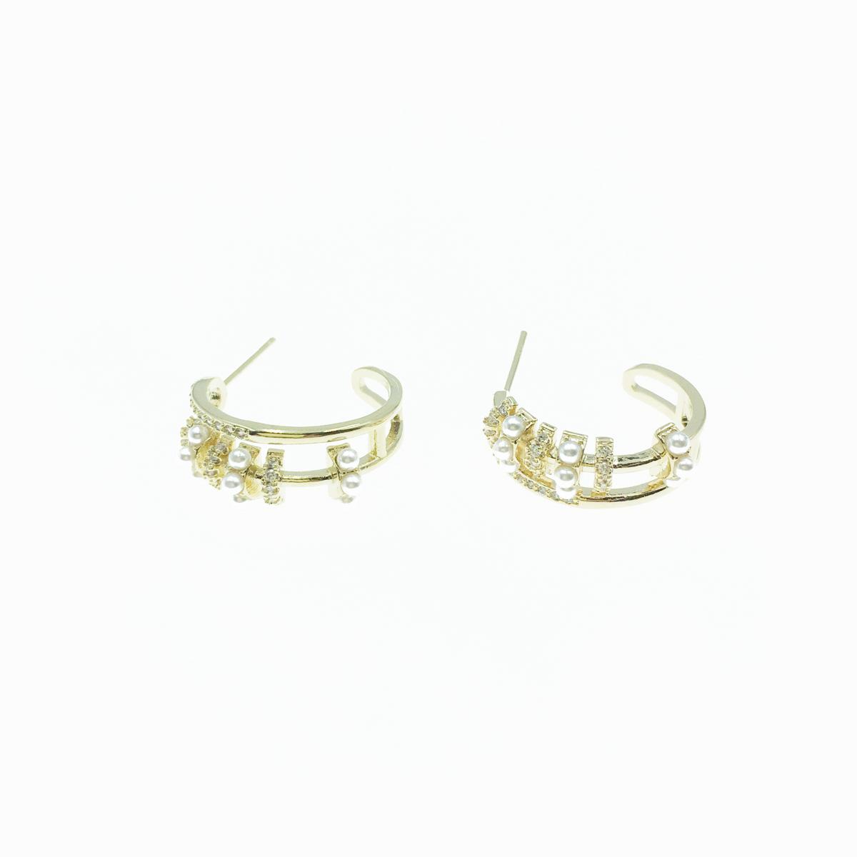 韓國 925純銀 鏤空圓圈 珍珠 水鑽 金色 耳針式 耳環