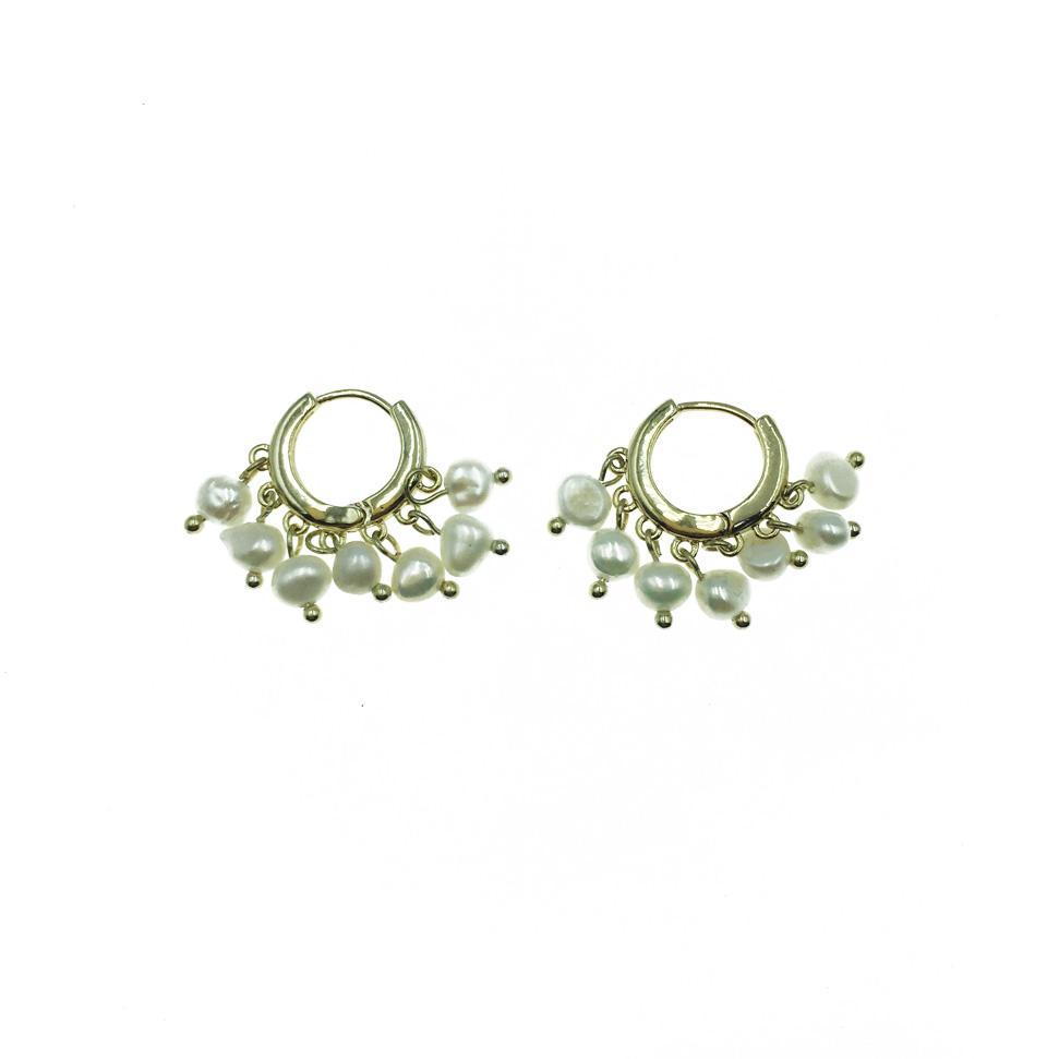 韓國 925純銀 圓圈 珍珠垂墜 耳針扣環式 耳環