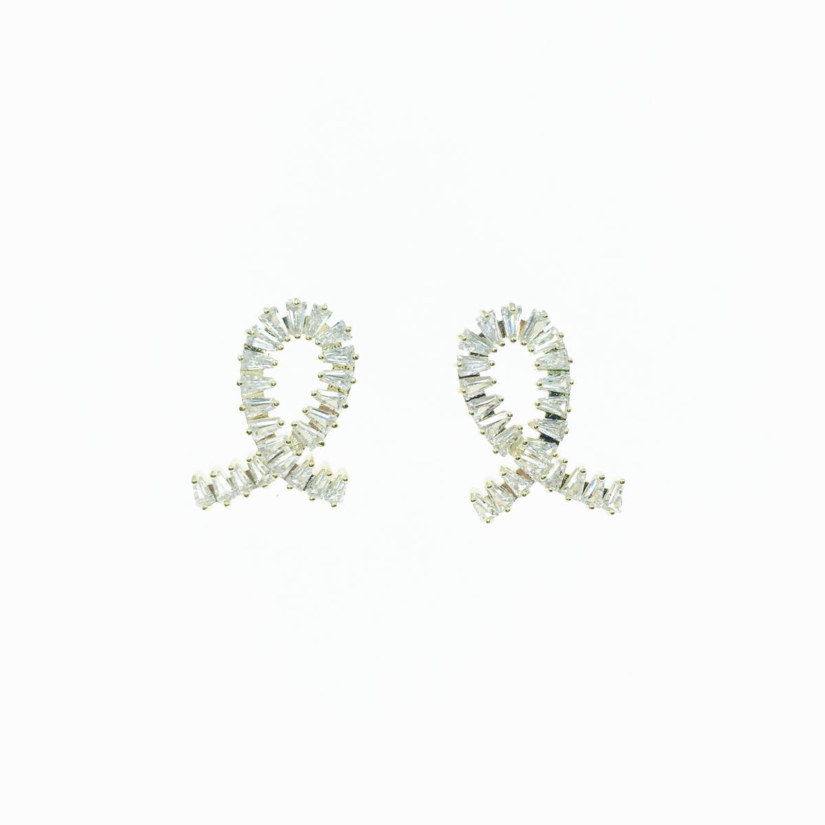 韓國 925純銀 水鑽 緞帶 白鑽 耳針式 耳環