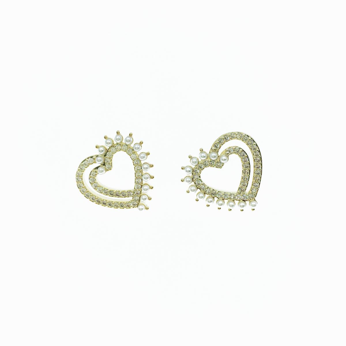 韓國 925純銀 線條愛心 鏤空 珍珠 水鑽 貼耳 耳針式 耳環