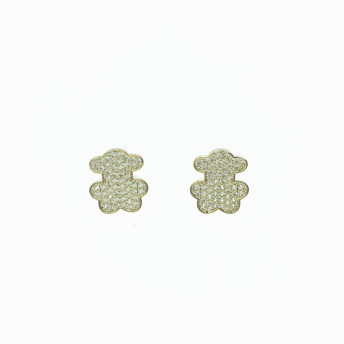 韓國 925純銀 水鑽 熊熊 小熊 熊玩偶 貼耳 耳針式 耳環