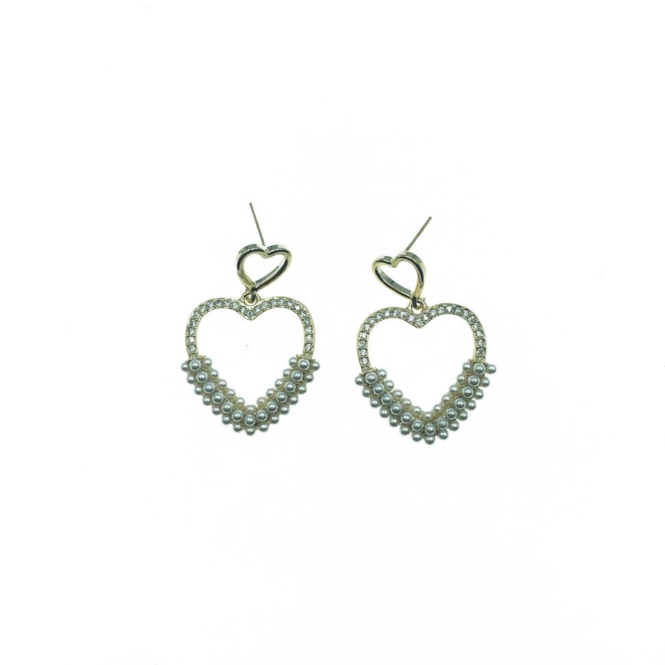 韓國 925純銀 大愛心 鏤空 珍珠 水鑽 垂墜 耳針式 耳環