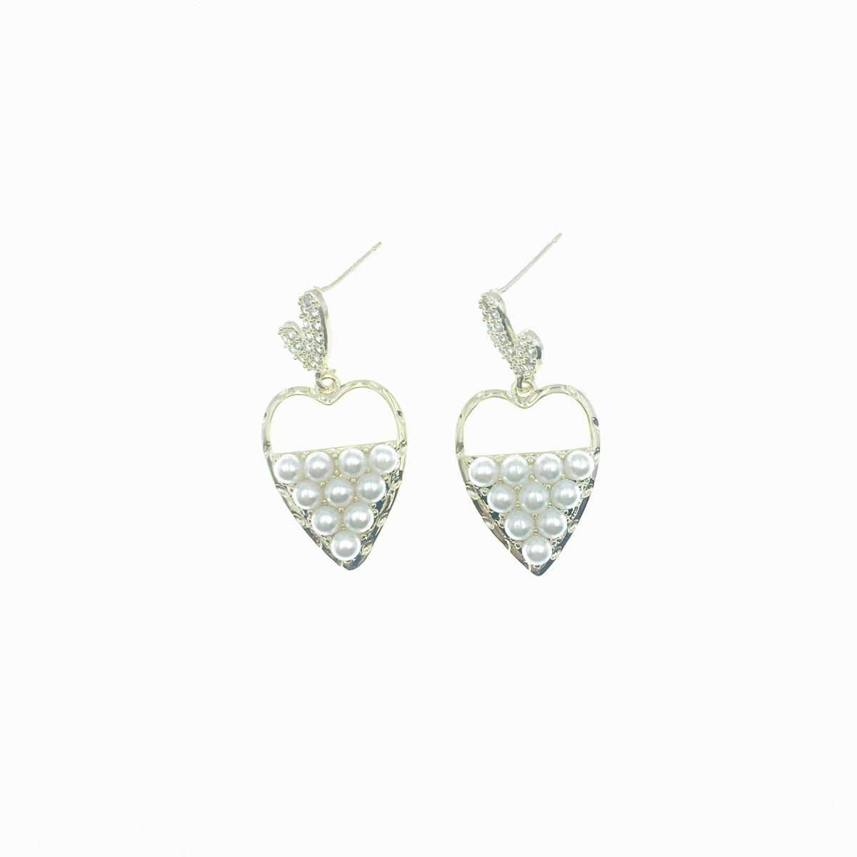 韓國 925純銀 水鑽 珍珠 愛心 垂墜 鏤空 耳針式 耳環