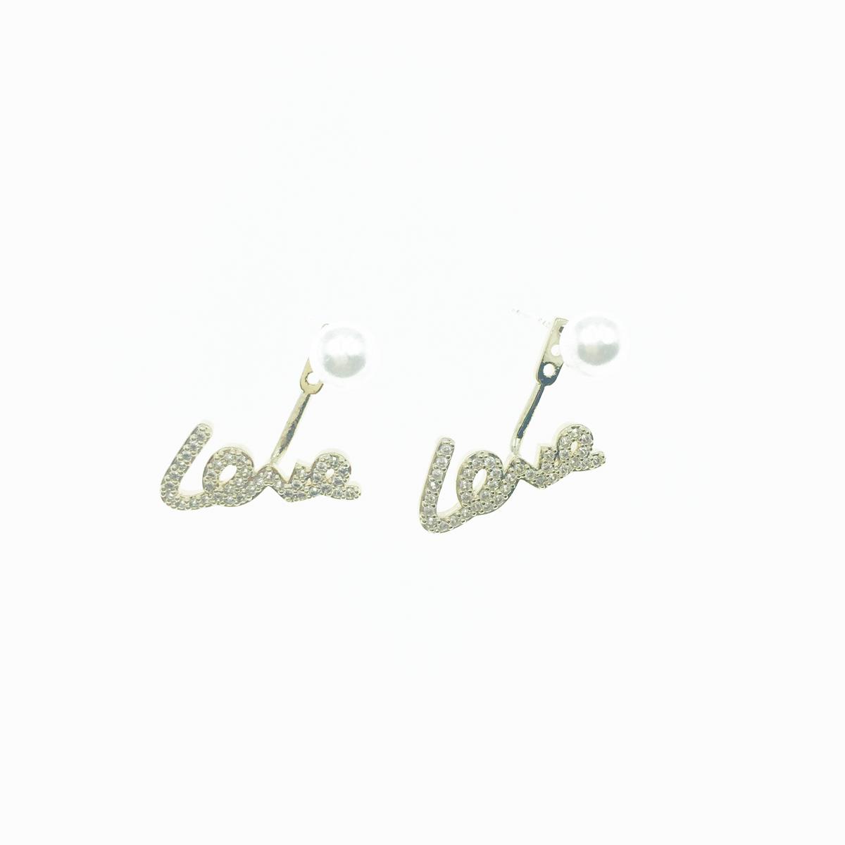 韓國 925純銀 水鑽 LOVE 單顆珍珠 耳針式 耳環