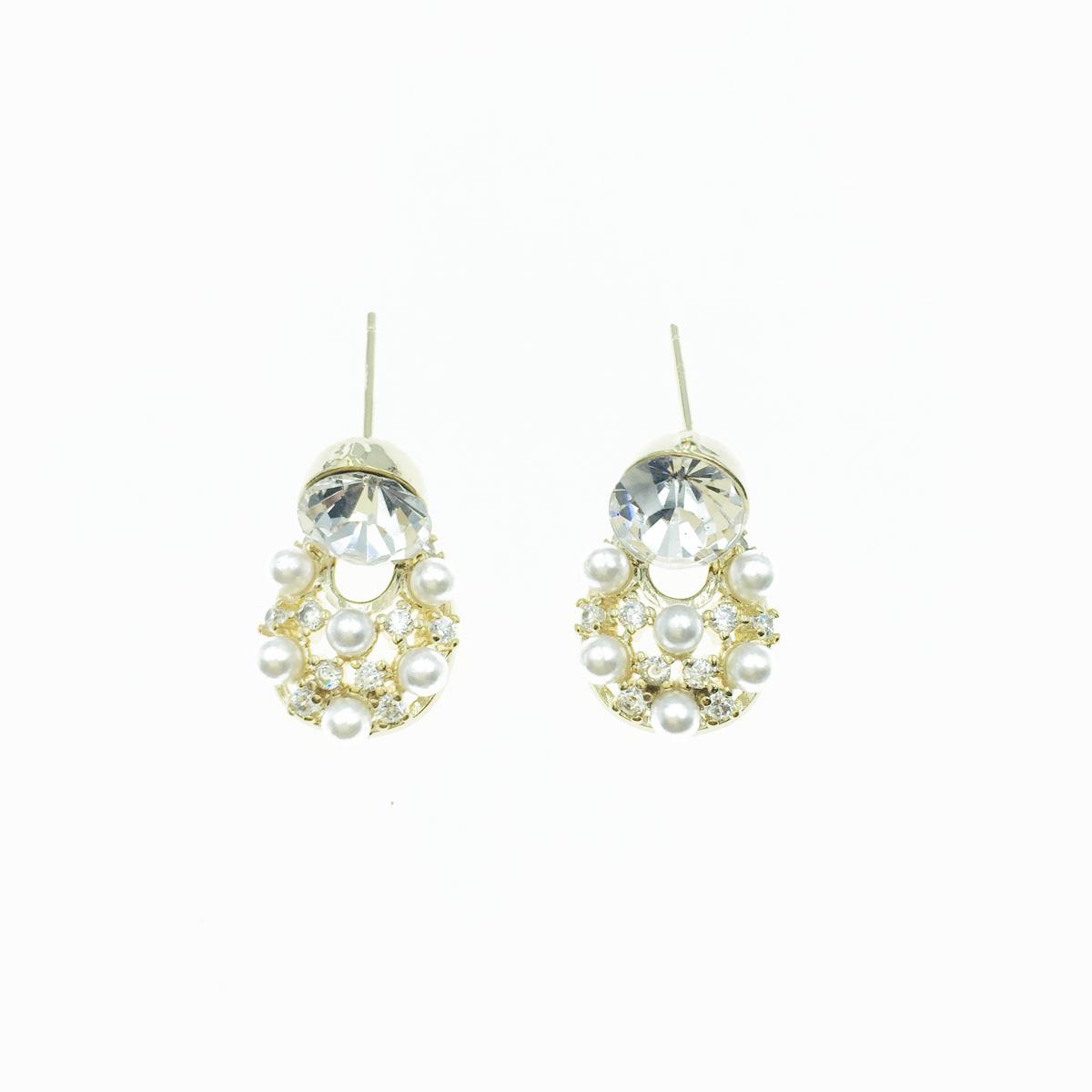 韓國 925純銀 水鑽 水滴型 珍珠 垂墜 白鑽 耳針式 耳環