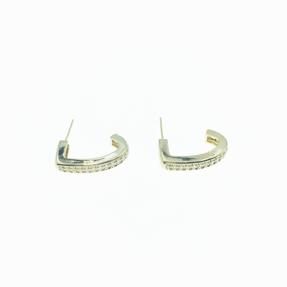韓國 925純銀 勾型 水鑽 幾何 方型 金色 簡約 耳針式 耳環