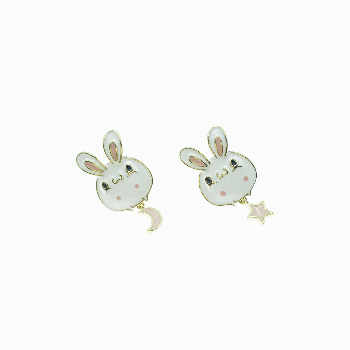 韓國 925純銀 可愛 兔子 月亮 星星 垂墜 耳針式 耳環