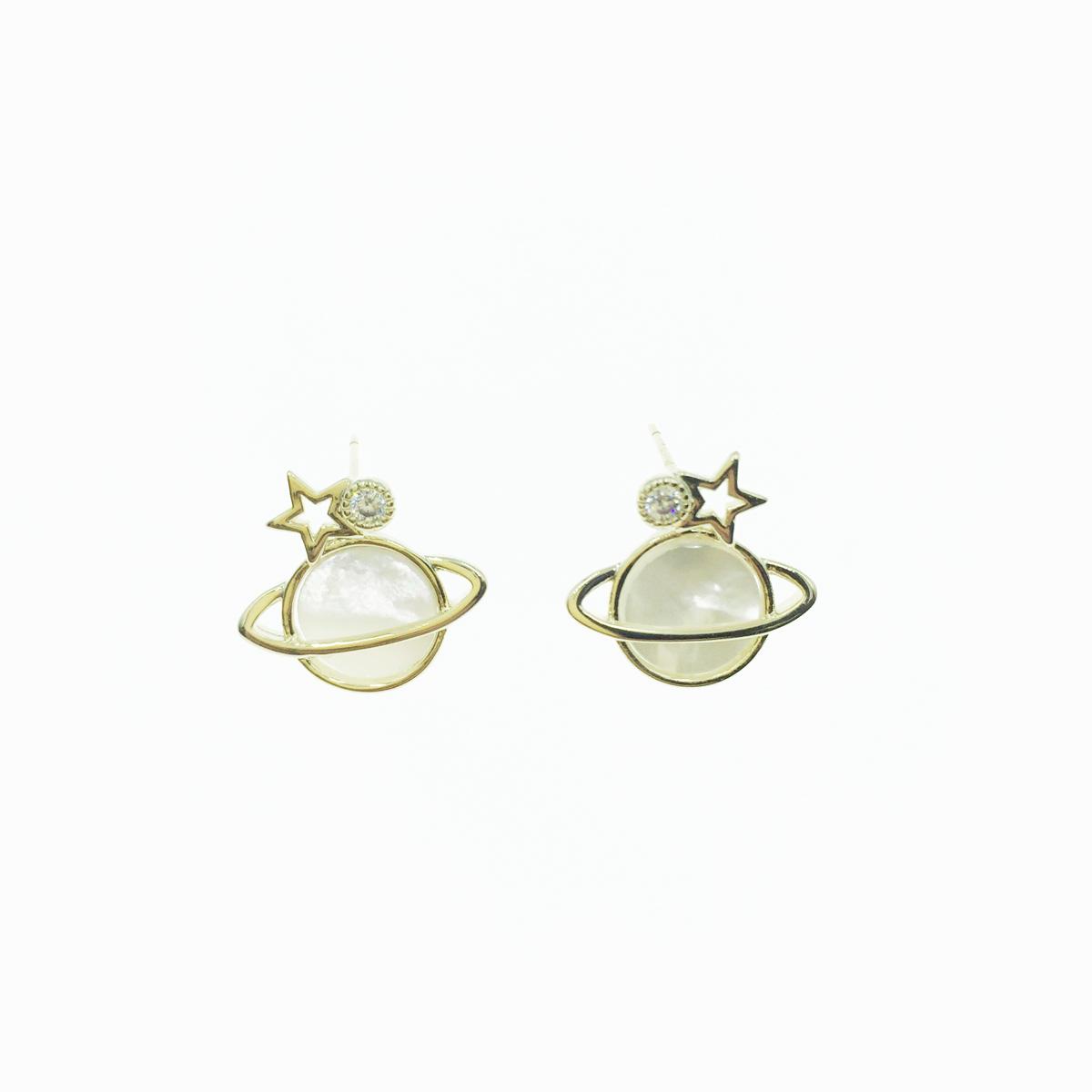 韓國 925純銀 星球 土星 星星 星空 水鑽 大理石紋 貼耳 可愛 耳針式 耳環