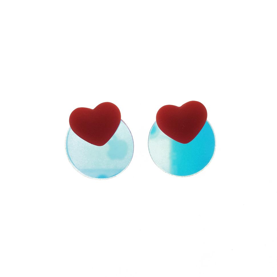 韓國 925純銀 紅愛心 心形 圓形鏡面 幾何 可愛 貼耳 耳針式 耳環