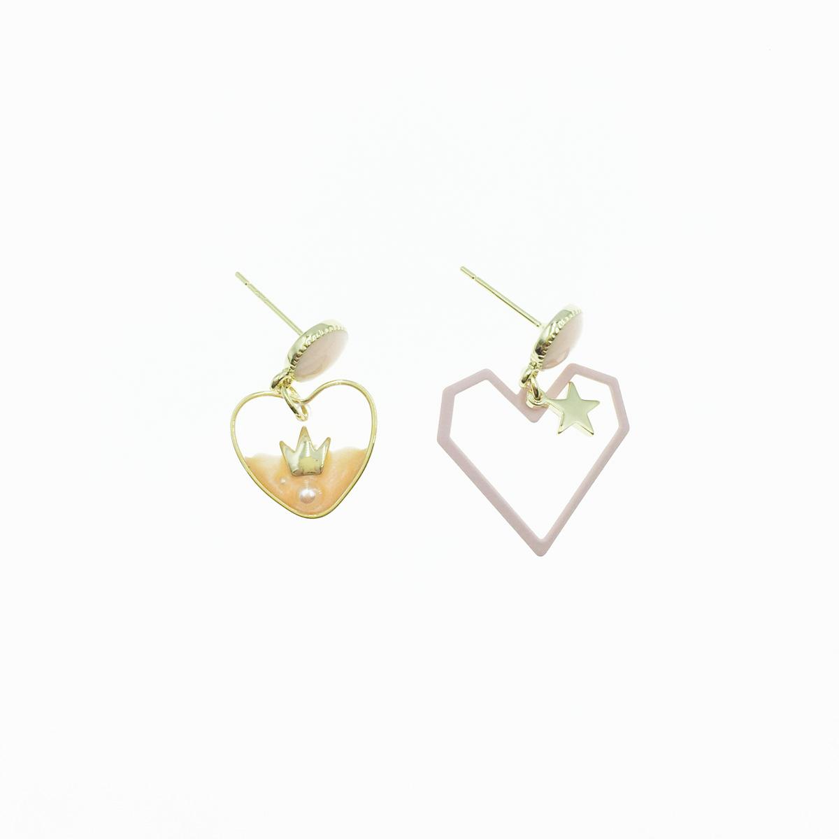 韓國 925純銀 幾何線條愛心 星星 王冠 珍珠 仿流沙 不對稱 可愛 垂墜 耳針式 耳環