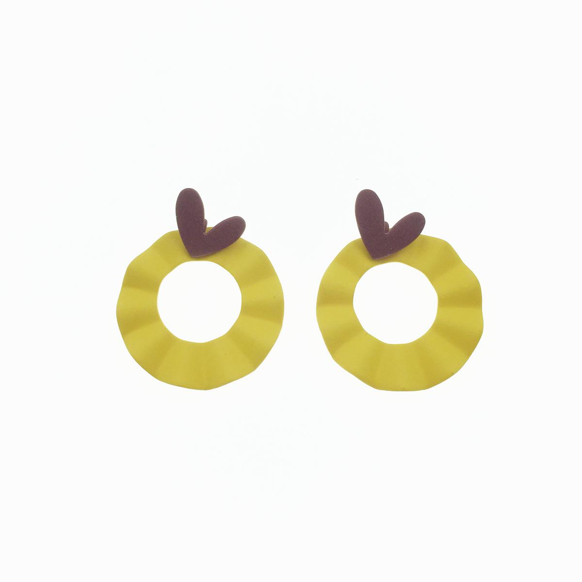 韓國 925純銀 黃色圓圈 愛心 心形 幾何 撞色 可愛 耳針式 耳環