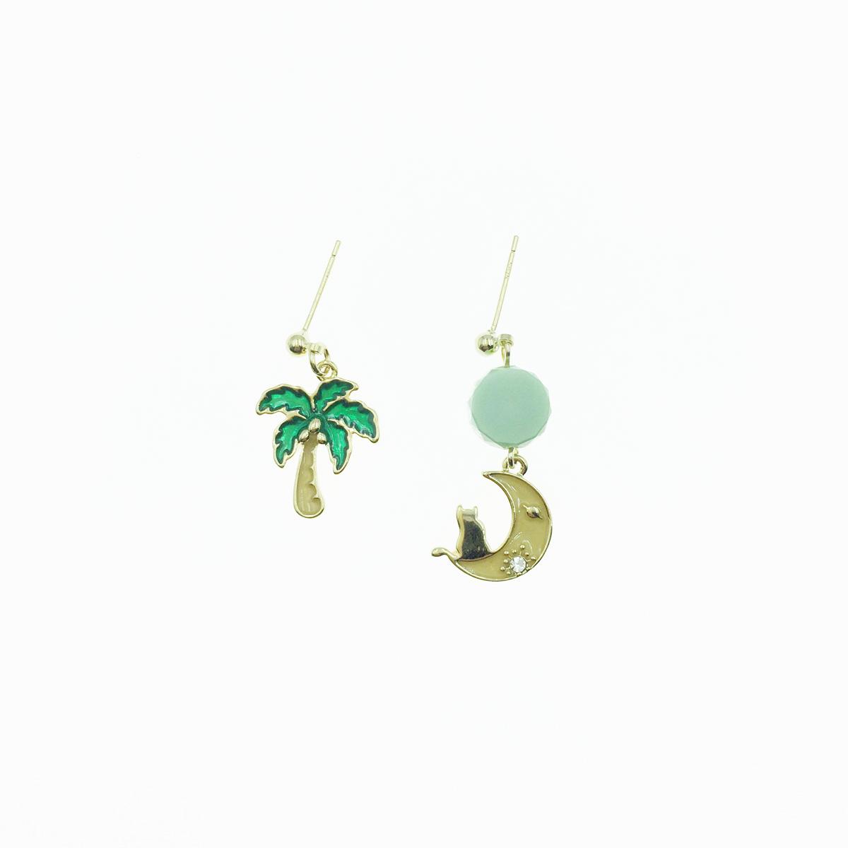 韓國 925純銀 椰子樹 貓咪月亮 不對稱 垂墜 可愛 耳針式 耳環