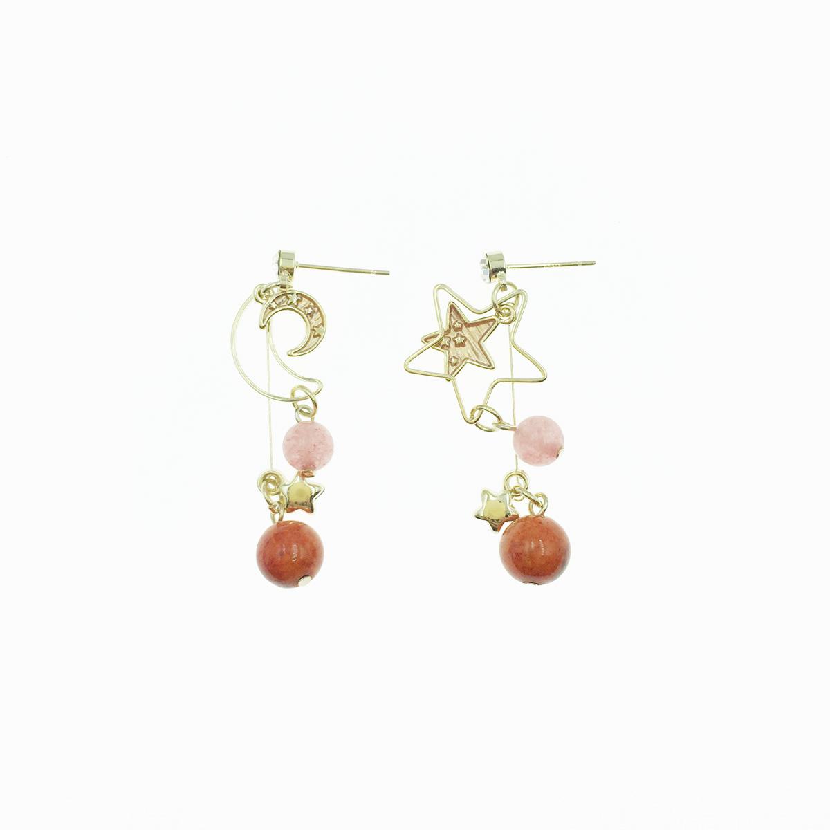 韓國 925純銀 水鑽 星星 月亮 垂墜 不對稱 鏤空 粉色珠珠 可愛 耳針式 耳環