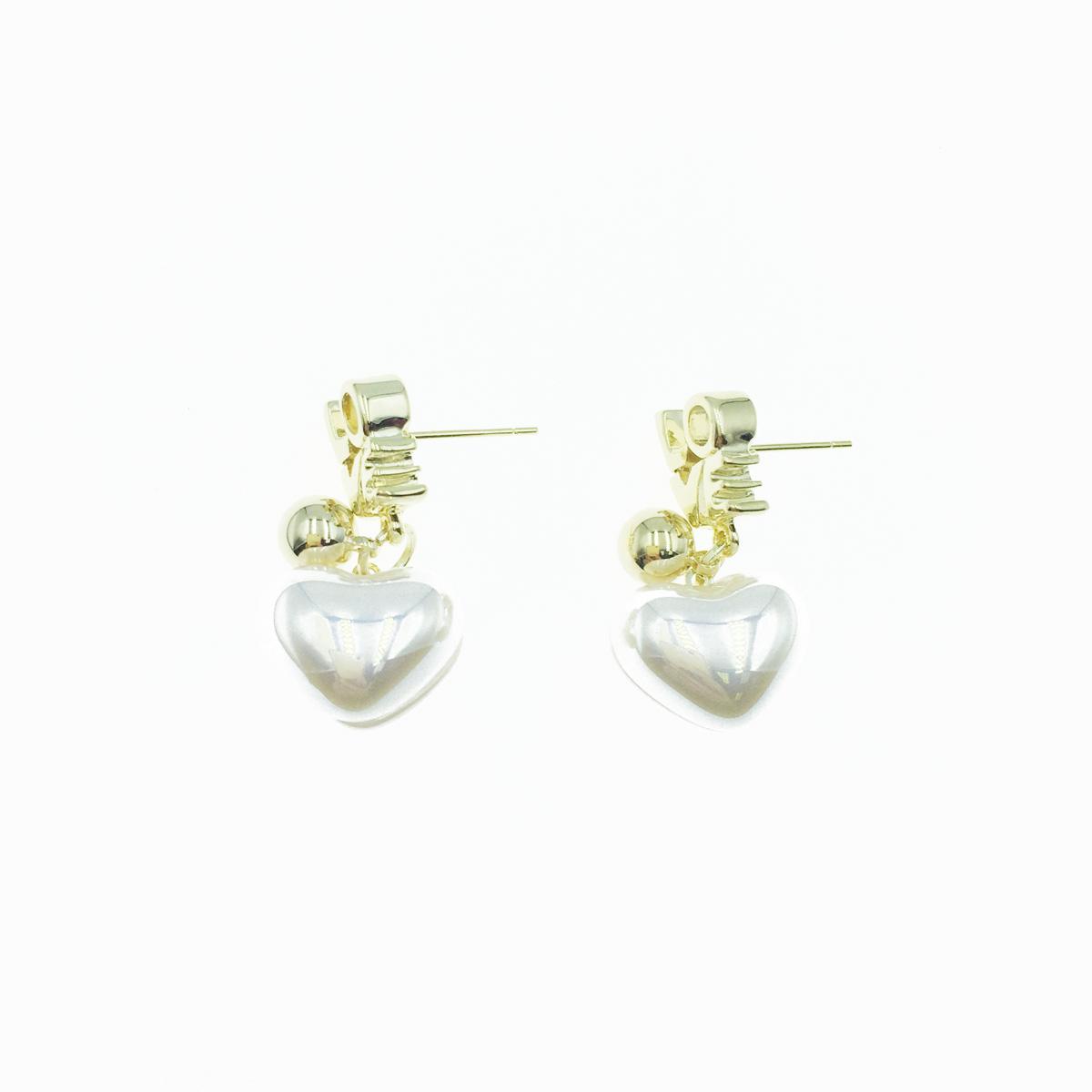 韓國 925純銀 愛心珍珠 LOVE 垂墜  金色珠珠 可愛 耳針式 耳環
