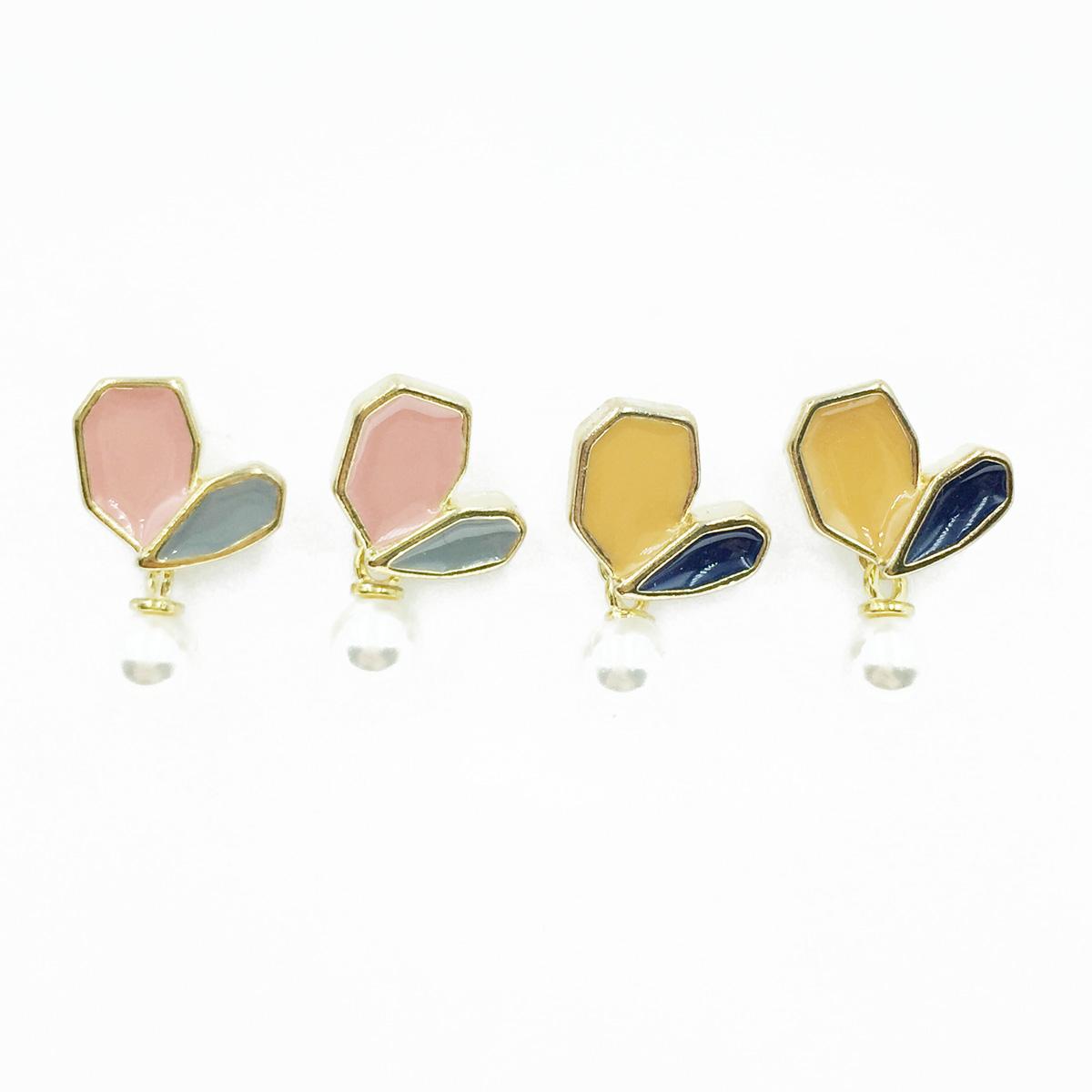 韓國 925純銀 撞色愛心 珍珠 垂墜感 耳針式耳環