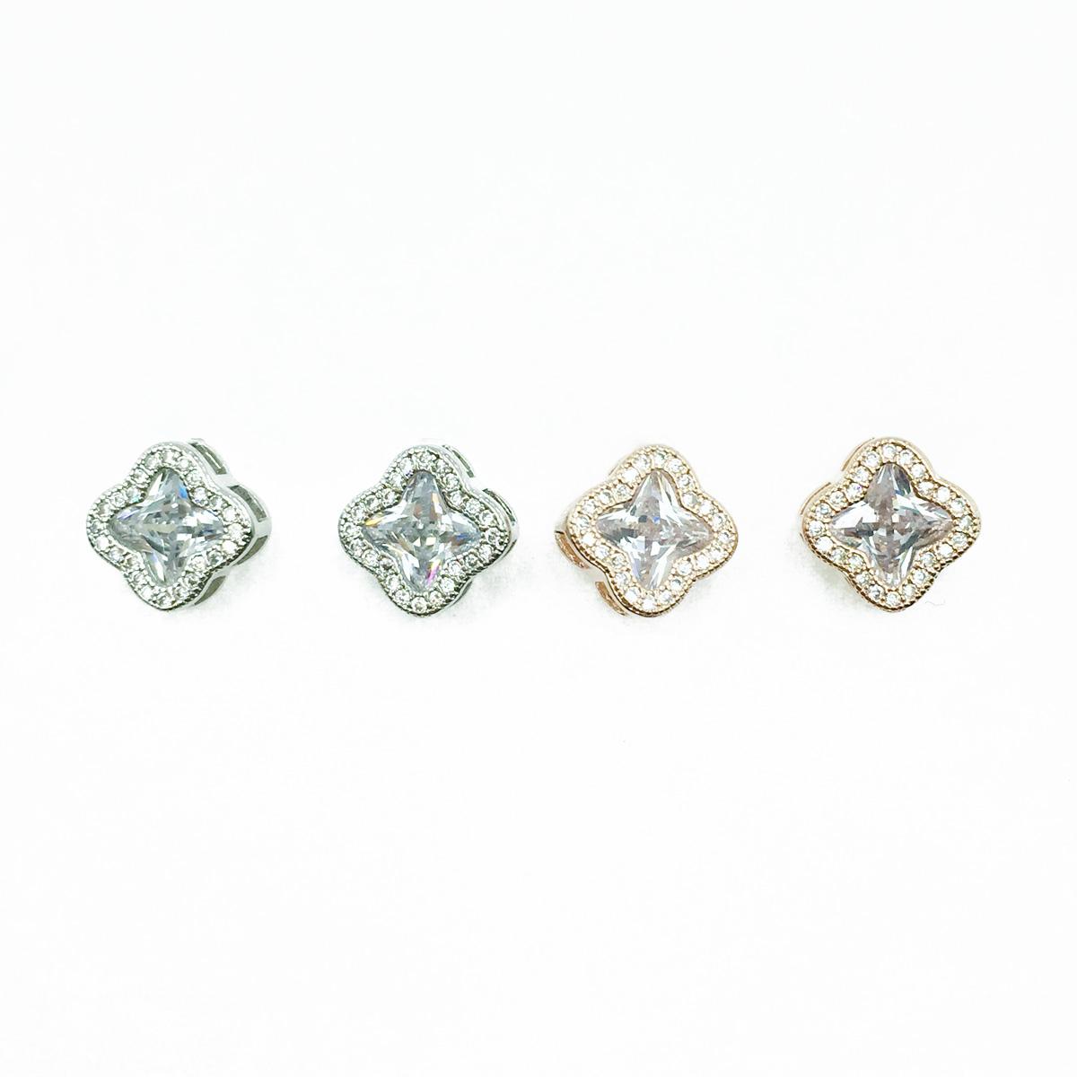 韓國 925純銀 圓弧邊水鑽 銀 玫瑰金 耳針式耳環