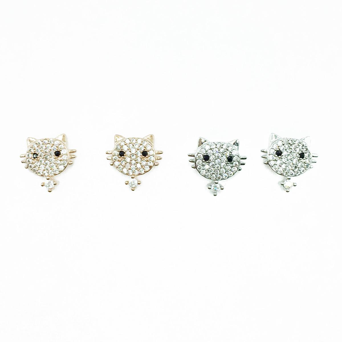韓國 925純銀 貓咪 滿版水鑽 兩色 耳針式耳環