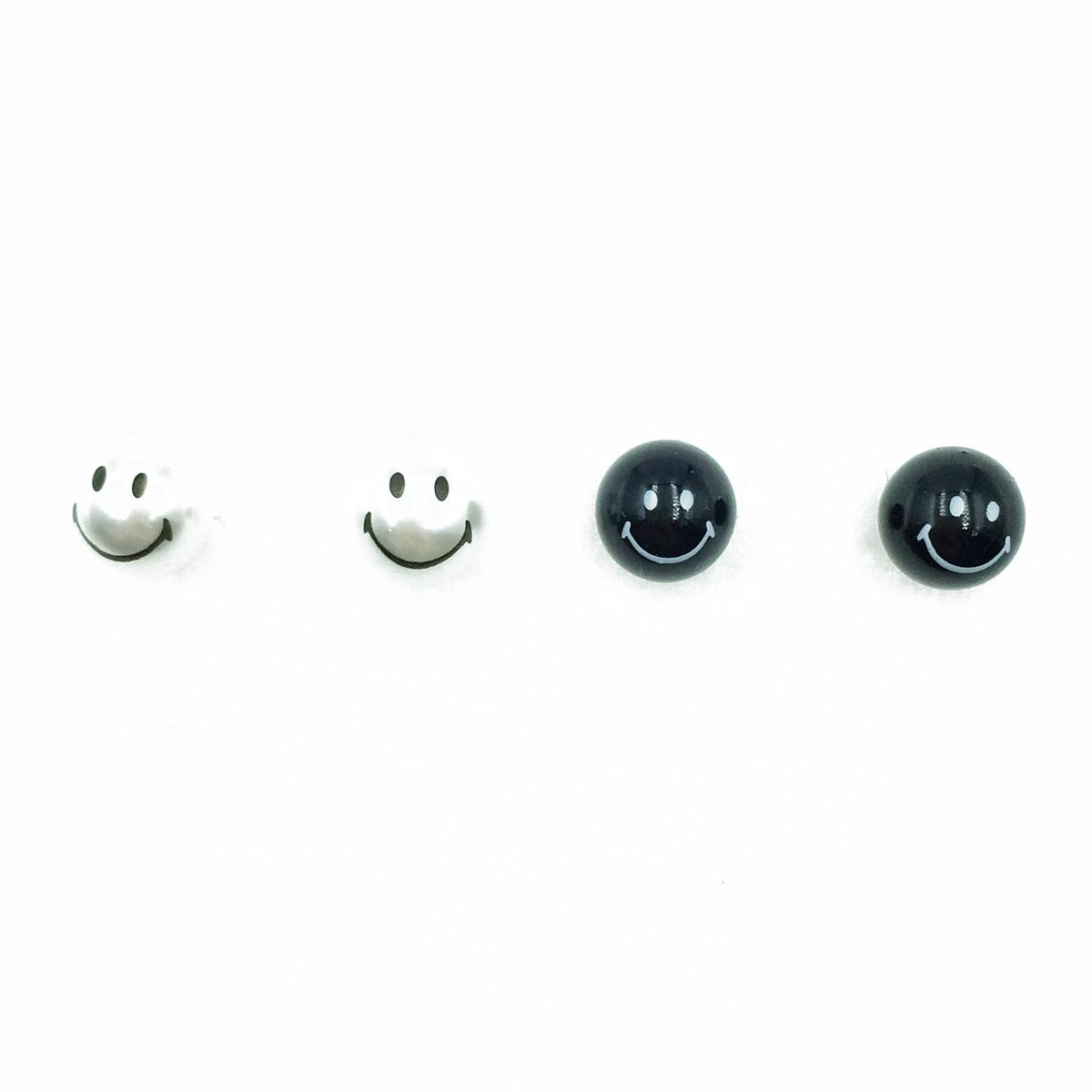 韓國 925純銀 笑臉 珍珠 黑白兩色 耳針式耳環
