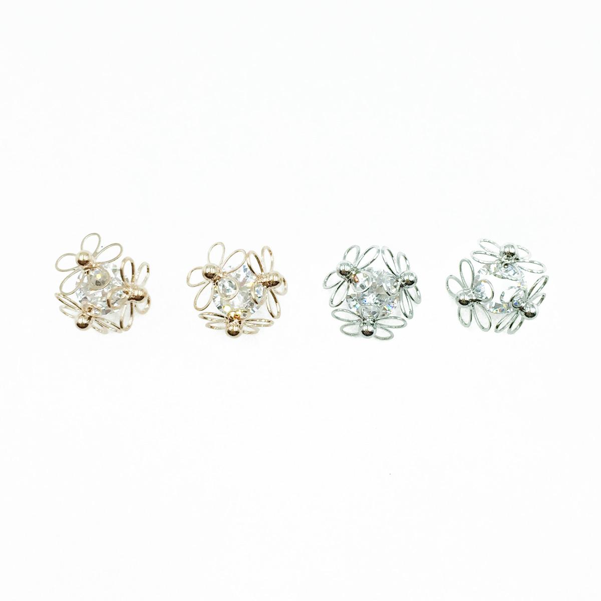 韓國 925純銀 簍空花 水鑽 銀 玫瑰金 耳針式耳環