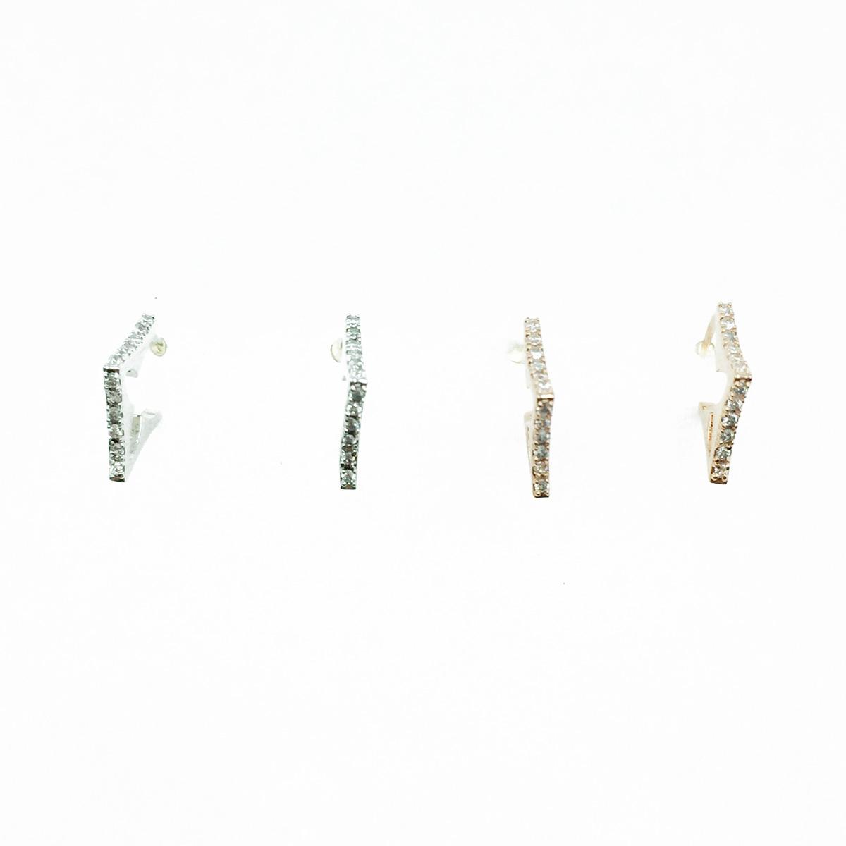 韓國 925純銀 水鑽 簡約款 銀 玫瑰金 耳針式耳環