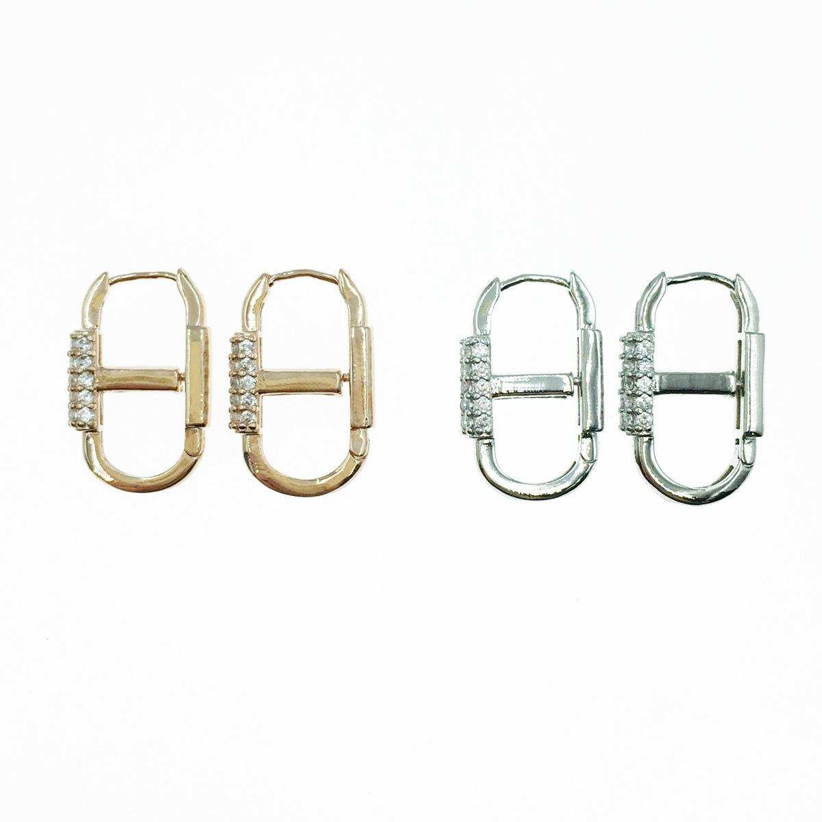 韓國 925純銀 水鑽 兩色 易扣式 耳針式耳環