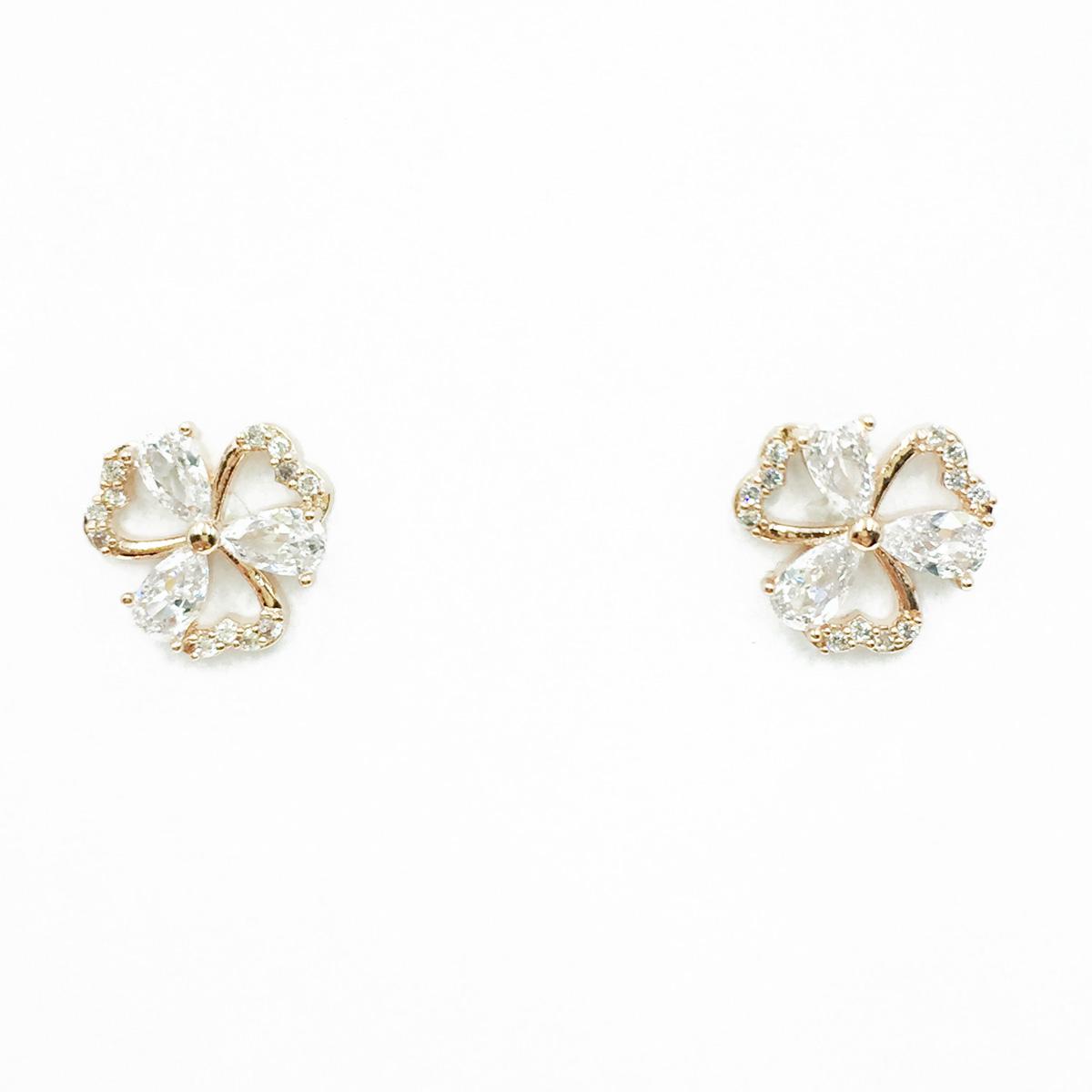 韓國 925純銀 幸運草 水鑽 簍空愛心 玫瑰金 耳針式耳環