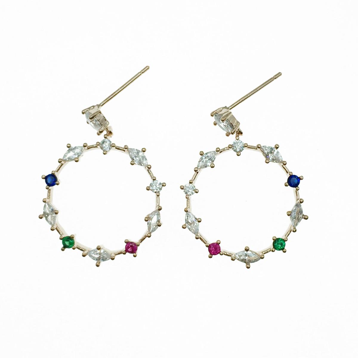 韓國 925純銀 簍空圓 水鑽 玫瑰金 垂墜感 耳針式耳環