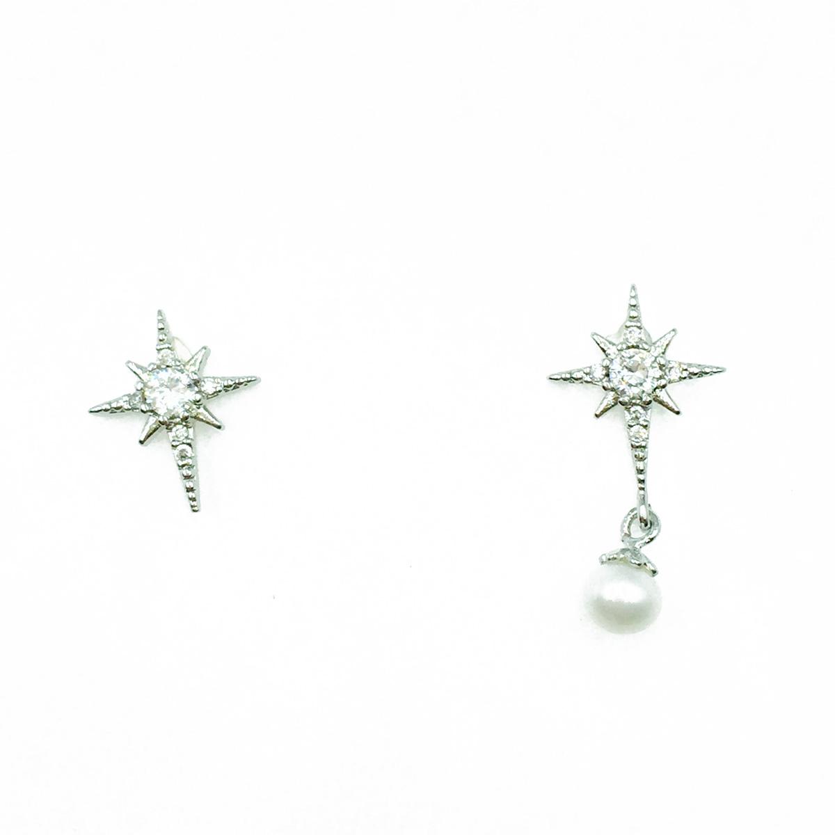 韓國 925純銀 不對稱 星茫 水鑽 珍珠 垂墜感 耳針式耳環