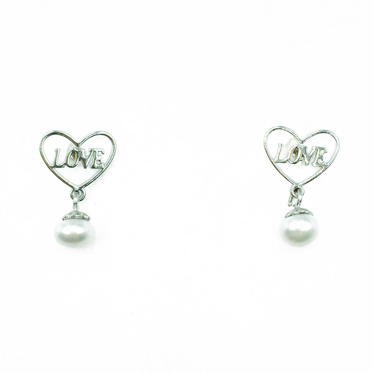 韓國 925純銀 愛心 LOVE 珍珠 垂墜感 耳針式耳環