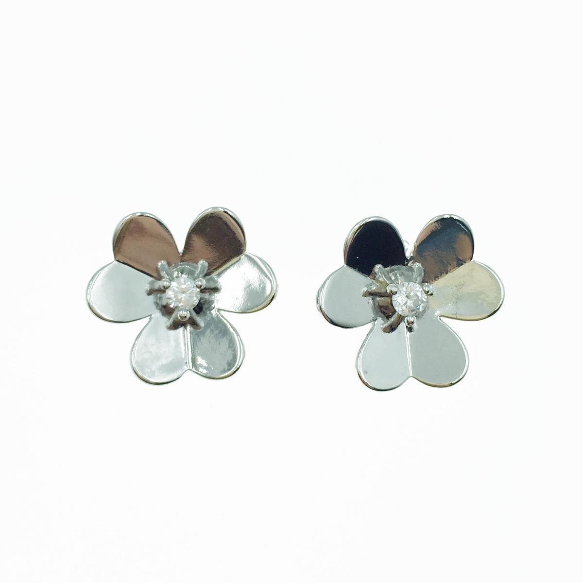 韓國 925純銀 花 歐美金屬風 易扣式 耳針式耳環