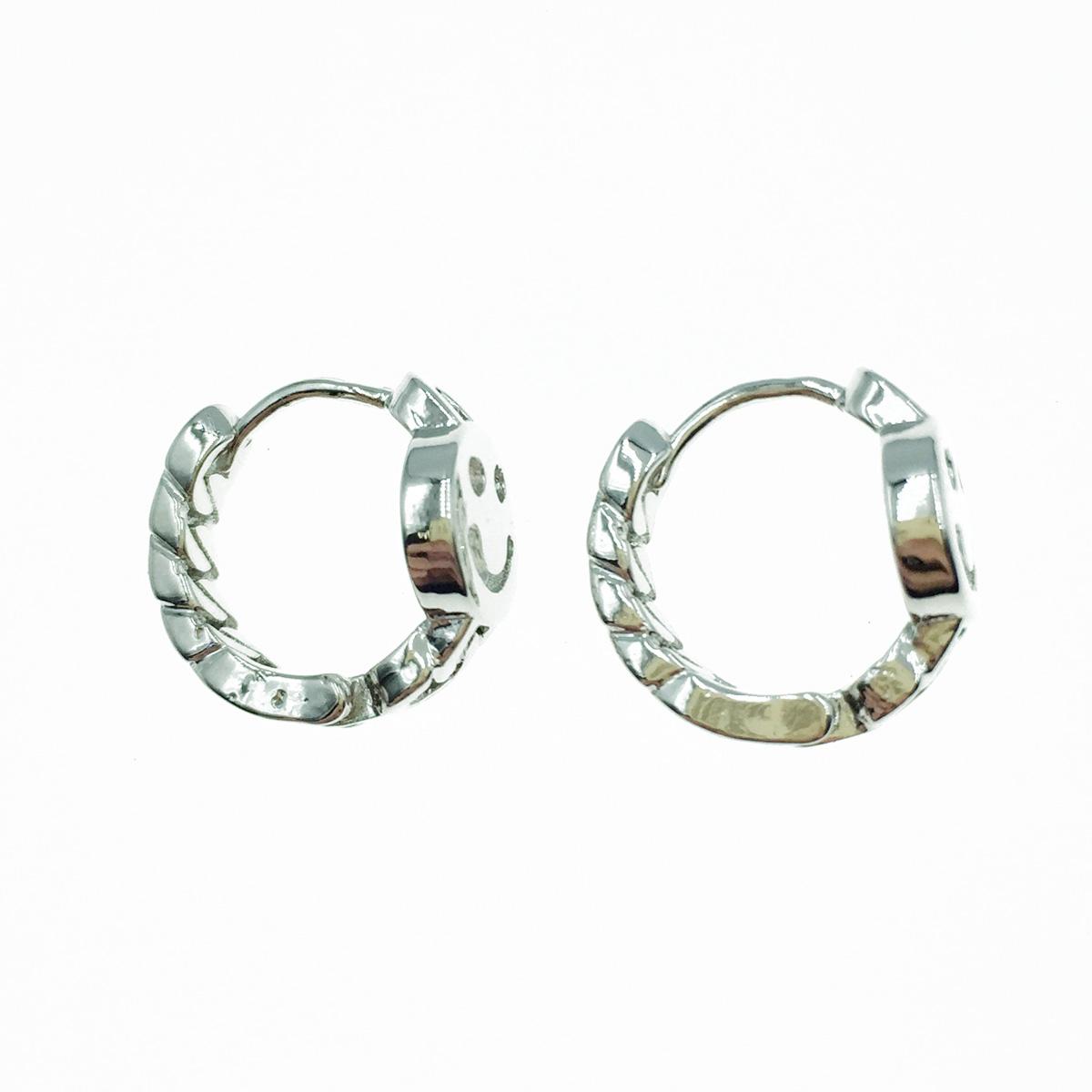 韓國 925純銀 笑臉 簍空 歐美金屬風 易扣式 耳針式耳環