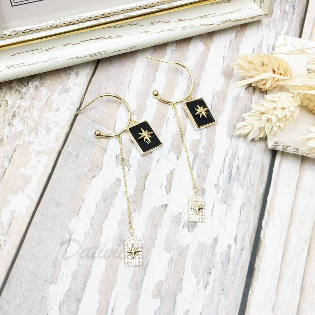 韓國 925純銀 水鑽 星星 C字型 垂墜感 耳針式 耳環